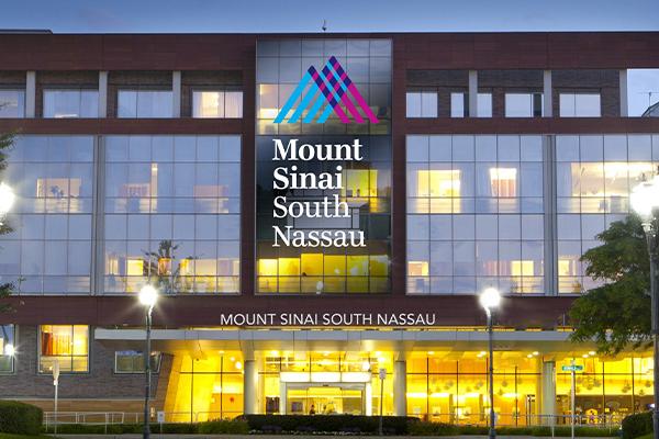 Mount Sinai South Nassau logo and building